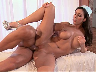 Brunette nurse gets pulverized