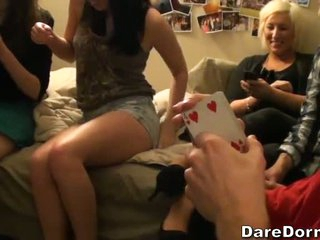 Playing cards with sexy college chicks