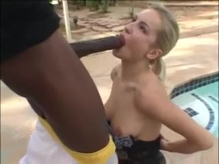 Girl in amazing skirt sucks dark cock