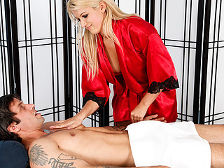 Laela Pryce gives Alan a oral-job 'cuz this babe can't live without engulfing.