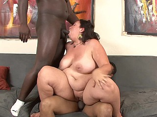 Here's a cute big beautiful woman for u lovers of healthy ladies.  Mariah Cherry has got some real jiggle and a lot of junk in the trunk, and her two black lovers had a blast sandwiching her betwixt 'em as they tag teamed her, making sure all her holes were filled up.