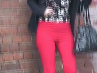 Sexy pants and red pants public wetting