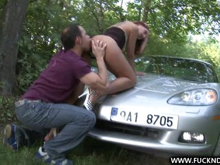 A Fortunate Stranger shagging deep on car bonnet