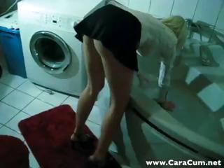 Hot young blonde gets interrupted mode their way laundry coupled with sucks coupled with fucks POV