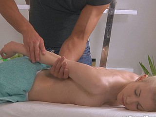 Golden-haired with a lovely wazoo is massaged into an big O