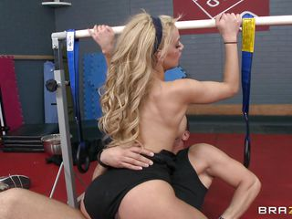 light-complexioned honey fucking in the gym room