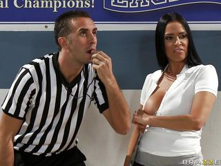 Vanilla DeVille is the girls basketball coach. Keiran is the ref, who keeps getting distracted by her large tits. Vanilla's team wins, and Keiran says they should be disqualified for cheating. He's going to report her, but that babe gets those jugs out again and all thoughts vanish.
