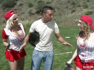 These babes are outdoors and love to play with balls. They are warming up to play baseball but end up licking this men balls. Look at those large tits, perfect booties and very sexy legs as they are running around and bouncing their sexy boobs. After fooling around for a while those sluts are laying the guy on the grass and starts sucking his hard cock with pleasure as one of the babes is undressing showing us her perfect body and those very sexy tits.