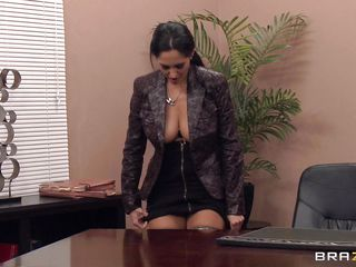 This hot brunete is horny as fuck and this babe wants her boss to be the same. Look at the way this babe spread her lengthy sexy legs and starts fingering on the desk with that pencil. Are her big zeppelins and her tight cookie gonna bring her some sperm on her face or a cock inside her sexy ass?