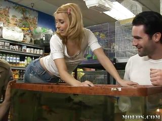 Teen Lexi Belle, working in a pet store that doesn't pay much and having to rely on perverts just to get her commission. Another fellow comes in and runs off the dorks, leaving her with no commission for the day and nothing to do. He has to make it up to her by keeping her company. What to do though?
