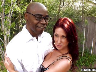 horny red head milf loves darksome dick
