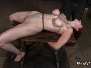 This a bdsm effectuated by a skilled executor. The guy did a great job when this chab tied Holly's big milk cans and squeezed them hard. Then this chab whips this bitch and thonged on her head a elementary device to keep her mouth opened. Holly received some lube on her face and pussy before deep mouth and vaginal fucking with a dildo