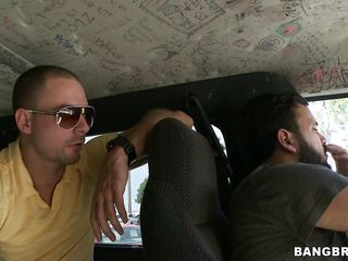 The Group sex Bus is going around Miami, looking for hot young gals to fuck, and they find a candidate in Nikki. She's on her lunch break and so the interview begins. She's concerned with getting in a van, but after some negotiation with the money, she takes a chance and receives in. What will happen next?