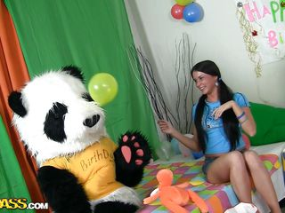 A sweet girl's party can't be complete without her panda bear. Sweet Jess doesn't needs presents or her friends, this babe solely desires her big fluffy panda and his attention. They have great fun, playing with balloons and eating cake. But that is not enough, Jess is a big cutie now and this babe want Panda to make her feel that.