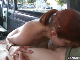 Stunning redhead with a great round ass is deepthroating while giving a blowjob to to a guy on the backseat. She is taken and rammed from behind. In which positions will that babe be fucked until they finish their sexual intercourse?