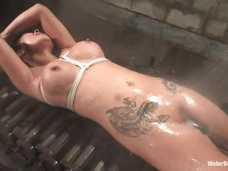 tattooed wet brunette tied with the addition of fucked with a concentrate