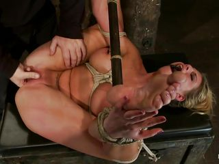 golden-haired milf charisma tied, pleased and fingered