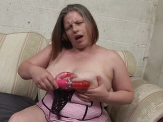 european mature with the addition of her big dildo