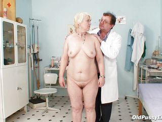 aged slut is being checked by her gynecologist.