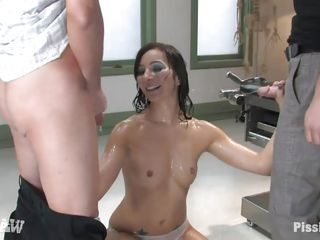 glamorous milf soaking her panties with piss