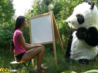 Mr. Panda is outside in the middle of nature and the thin brunette playgirl that's with him wants to prove him what an artist she is. Well, she may not be good at painting but she surely knows how to make him happy by engulfing his big panda cock. Stay with them and enjoy the wilderness of the forest and much more