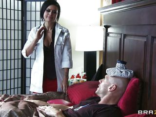 The patient is impressed with the sexy hot doctor's care and praises her so much. He asks her to take all the money kept in drawer. This babe wants to put a pillow at her back as this babe removes the blanked this babe is amazed by watching the big hard cock, this chab asks her to help him out in this type of situation.