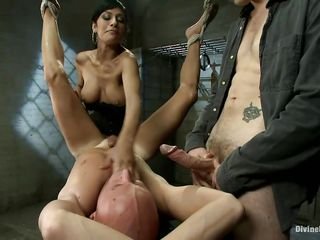 threesome with a devilish milf and a dominated hairless fellow