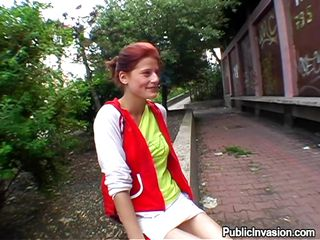 redhead hottie sucks my dick in public