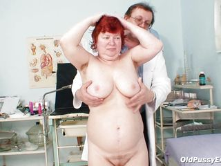 fat granny redhead needs an exam for her tits and anus