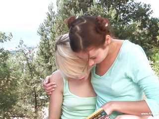 small Bristols blonde and her gf outdoors