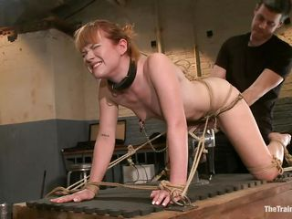 Stupid slut Claire with a collar likes having will not hear of ass being completely dominated with a sex-toy away from will not hear of horny master. This tot stays at bottom will not hear of knees at bottom a table plus gets as well as will not hear of pussy fingered, feeling ergo great. This tot is thankful for all these plus ready close by cum. First, that tot has close by drag inflate a dick dimension desk-bound at bottom a dildo!