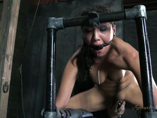 Positioned on a metal structure and tied with chains the pleasing dark brown Vicki is being mouth fucked by a guy. Her arse is damn hot and that beautiful mouth of hers begs for cock and cum! The guy shows her no mercy and stick his dick deep in her throat making her gag. That bald pussy could use the same treatment