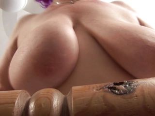 busty granny nataline playing with her body