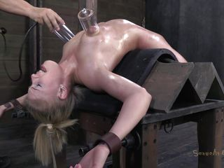 It's always a joy to see a skinny flexible chick shoved to her limits. Allie got beyond her as the executor bent her over on that table face up. That babe was pussy rubbed with a sex tool and her tits tortured with suckers previous to the guy throat drilled her deeply. It will be difficult for her to swallow cum in that position