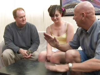 U can watch Stacey, a really hot babe with nice billibongs and a pink cunt that is standing between two old slutty guys that would love to put their big hard cocks inside her vagina. They get so slutty that they sluggishly take off her clothes and begin touching her billibongs and look at her cum asking pussy. Will they fuck?