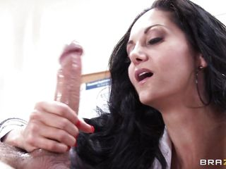 An accustomed talk over turns into way greater quantity than that. Sexy brunette bastardize with well in hair, melancholic stockings and amazing body, gives her patient a oral-job that he'll not ever forget. She pulls widely her boobs, then she is being literal wide of him. What will they do next?