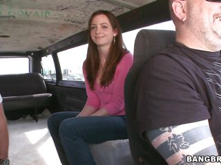 Hot straight-haired brunette hair chick with a pretty face is getting in the Bang Bus and she's being interviewed. Will she show her goodies to the camera? And which positions shall she use if she will receive fucked?