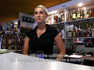 sexy blond bartender giving head
