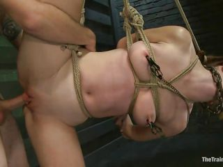Melody Jordan is all tied up at the moment. She's getting fucked with one leg in the air and enjoying it likewise much, till a rubber band snap on the foot brings her back to earth. The position switches and now she's bent over with one leg in the air. The dude fingers and fucks her. This babe says thank u sir.