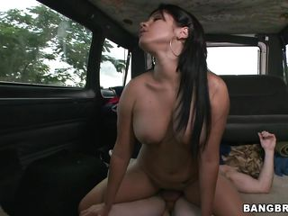 sexy lalin girl being fucked in the group sex bus
