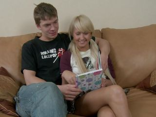 cute blonde teen gives head