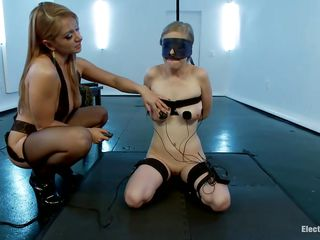 2 electro sluts, Lea and her gal Penny are about to give us a nice show. Those golden-haired bitches are kinky and sexy and they really love to play. Lea made out of her gal a obedient whore and she applied electrodes on her sweet boobs. She wants to do more then just shock her, Lea wants to brake Penny's self esteem