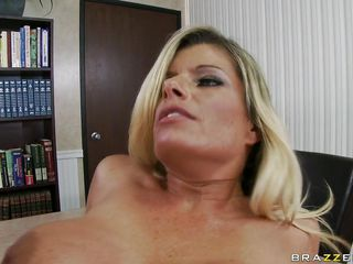 sexy blonde big tits being drilled on the table