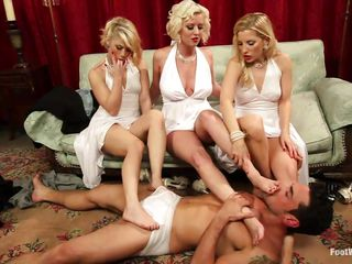 One lucky dude receives to fuck three hawt blondes. This hunk licks and bonks three different pussies and satisfies every one of them where the girls share one cock. Those blondes are so cute and hawt that the dude just can't stop to screw them happily and licks their feet to make them wet.