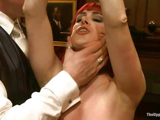 Watch this fetish party of bondage and role play. See these chicks with nice large mambos and asses getting tortured by the men who loves to watch ladies in ropes! Look how the chap is slapping the redhead's breasty tits as well getting her love tunnel fingered. Some other slut is fastened up and hanging from ceiling!