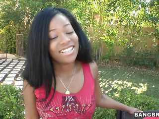 sexy ebony chic playing with a white boy!