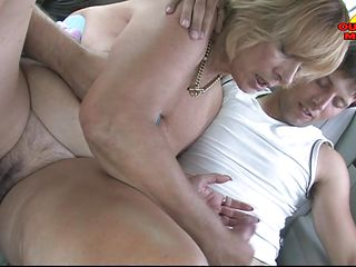 blonde aged lady getting double blowjob