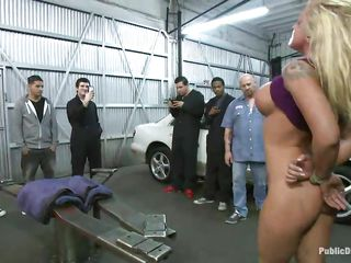 Blonde babe Leya Falcon gets her milk sacks and hands tied jointly in rope bondage by hot brunette milf. Tommy Pistol puts her on her knees and copulates her throat roughly, spitting on her sweet floozy face. Then this chab slams her pink bald pussy against the white car. That babe enjoys having large white meat inside her vagina.