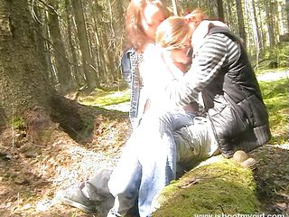 naughty russian chick engulfing a pecker in the forest