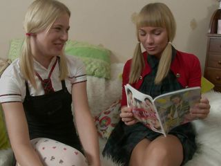 See these two gorgeous babe playing the role of two schoolgirls that are doing homework together. See how they acquire lascivious and start kissing each other while they slowly take their clothes off and lick each others large hard boobs. After licking their nipples, do u think they'll do something more?